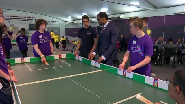 national table cricket finals for children with disabilities lord's cricket ground london uk various shots of table cricket being played paul robin... - greg james stock videos and b-roll footage