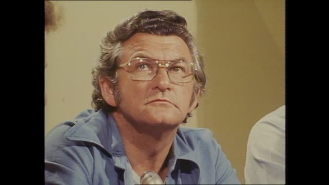 national tally room canberra 1975 election night bob hawke john gorton on channel 7 television panel desk with journalist mike peterson / close up... - bob hawke stock videos and b-roll footage