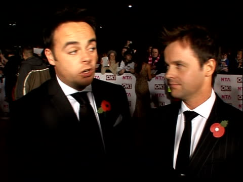 red carpet arrivals and backstage ant and dec interview sot 8th nomination / davina mccall having a pop at them/ taking over russell's show/ on... - ant stock videos and b-roll footage