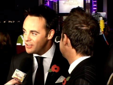 red carpet arrivals and backstage Anthony McPartlin and Declan Donnelly arrival and talking to press/ Fern Cotton interview SOT/ unidentified arrivals