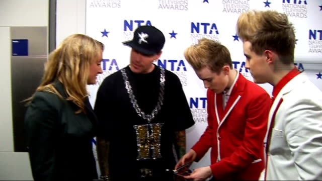 celebrity red carpet arrivals and interviews jedward and vanilla ice interview sot on performance crowd went crazy / on simon cowell dancing you saw... - jedward stock videos and b-roll footage