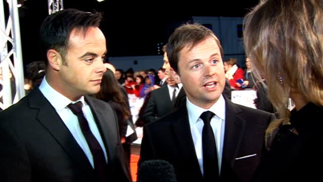 celebrity red carpet arrivals and interviews ant and dec interview sot have won award every year for last eight years / on trying to get the word... - 2010 video stock e b–roll