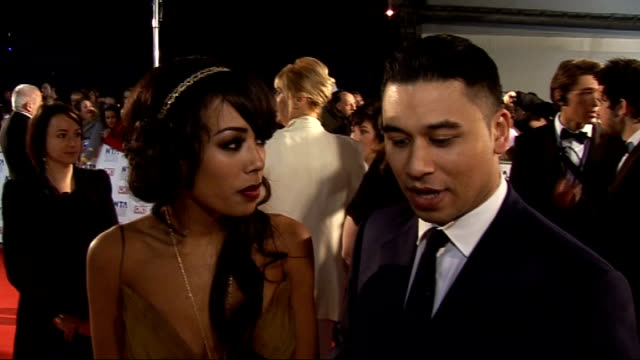 national television awards 2011: celebrity arrivals; jade ewen and ricky norwood interview sot - on feelings - cold, nervous, excited / on sugababes... - soap opera stock videos & royalty-free footage