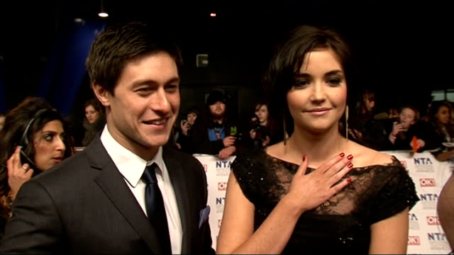 national television awards 2012: red carpet arrivals and celebrity interviews; tony discipline and jacqueline jossa interview sot - amazing night,... - エイモン ホームズ点の映像素材/bロール