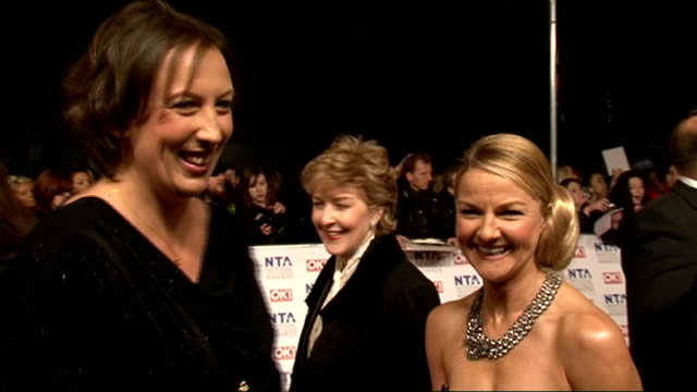 red carpet arrivals and celebrity interviews miranda hart sarah hadland patricia hodge interview sot started writing series 3 / can't really say... - patricia hodge stock videos and b-roll footage