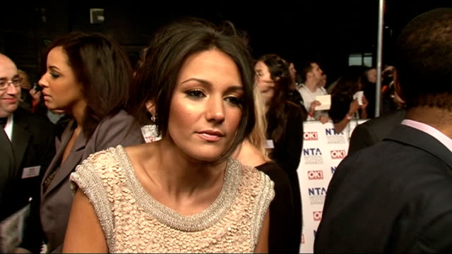 red carpet arrivals and celebrity interviews Michelle Keegan interview SOT She's here to party not drunk all month / On Katherine leavings she didn't...