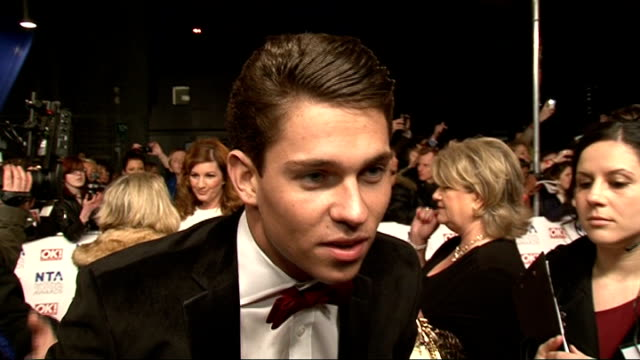 red carpet arrivals and celebrity interviews joey essex 'the only way is essex' interview sot i'm having fun tonight / on being up against i'm a... - jenny eclair stock-videos und b-roll-filmmaterial
