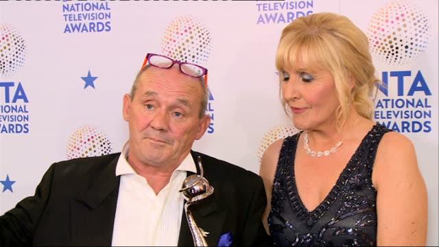 Winners' room Brendan O'Carroll and Jennifer Gibney interview SOT Cast of Coronation Street interview SOT