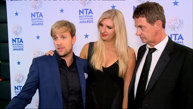 Winners' room ENGLAND London O2 INT Rebecca Adlington Kian Egan and Matthew Wright interview SOT later joined by fellow contestants Joey Essex Amy...