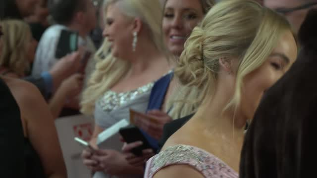national television awards 2021: red carpet interviews; england: london: north greenwich: the o2 arena: ext various of crowd waiting / tayce and... - bimini stock videos & royalty-free footage