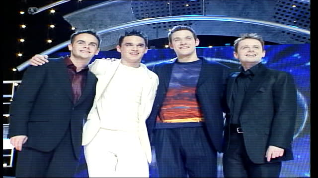 national television awards; lib london: pop idol presenters ant and dec posing with contestants will young and gareth gates lib ext big brother... - pop musician stock videos & royalty-free footage