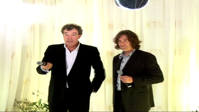 Red carpet arrivals and interviews / Winners room photocalls and interviews Clarkson and May interview SOT On Richard Hamond [Clarkson says 'he's...