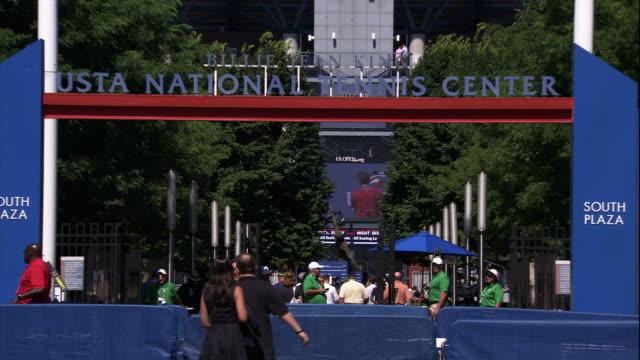 usta national tennis center front entrance - flushing queens stock videos and b-roll footage