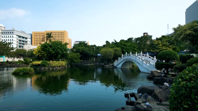 national theater and its reflection on the guanghua pond, taipei, taiwan - national theater taipei stock videos & royalty-free footage