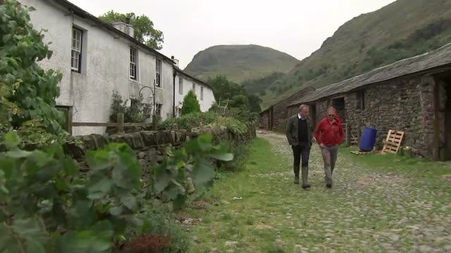 national trust outbids local farmers for 300 acres of lake district; england: cumberland: lake district: borrowdale valley: ext air view... - national trust video stock e b–roll
