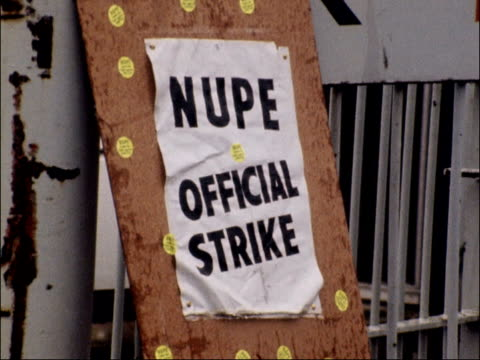 national union of public employees strike escalates england hampshire winchester pan piles of rubbish bags in snow pan pickets ms pickets pull out... - 1979 stock videos and b-roll footage