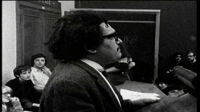 national union of students' conference vote against reform tx london school of economics b/w footage of student sitin against the vietnam war london... - 1968 bildbanksvideor och videomaterial från bakom kulisserna