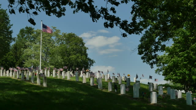 national veterans cemetery with blowing flag 4k - stars and stripes stock videos & royalty-free footage