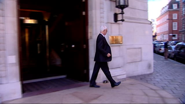 nationalisation of banks warning by governor of the bank of england london ext alistair darling mp from building to car - alistair darling stock videos & royalty-free footage