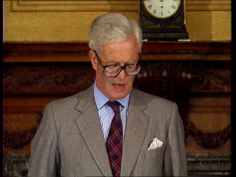 hurd speech int england london cms douglas hurd mp speech sof we have learned to sort out our problems in western europe at the negotiating table but... - western europe stock videos & royalty-free footage