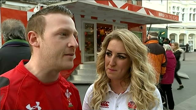 england beat wales in cardiff wales cardiff ext various of crowds of people along otuside cardiff railway station many arriving for the opening 6... - daffodil stock videos & royalty-free footage