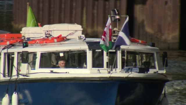 teams prepare for the best attended sports event in the world wales cardiff ext principality stadium welsh and scottish flags flying from small boat... - world sports championship stock videos & royalty-free footage