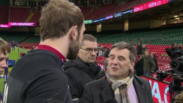 Teams prepare for the best attended sports event in the world WALES Cardiff Principality Stadium INT Various of Wales Coach Warren Gatland watching...