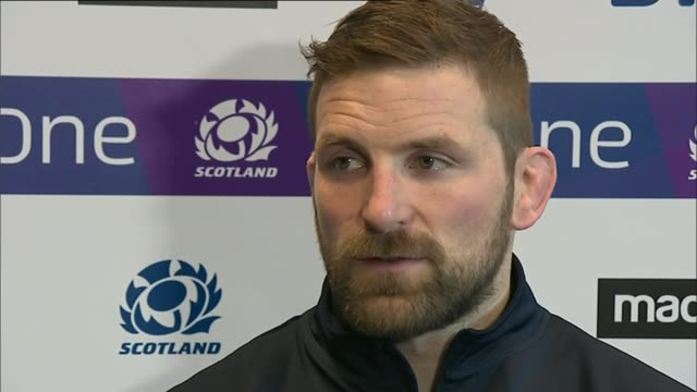 Teams prepare for the best attended sports event in the world SCOTLAND INT John Barclay interview SOT Various of Scotland rugby union players training