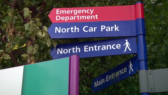 Nationwide review of radiology services ordered Portsmouth Queen Alexandra Hospital EXT Anonymous people along outside hospital Sign 'Emergency...