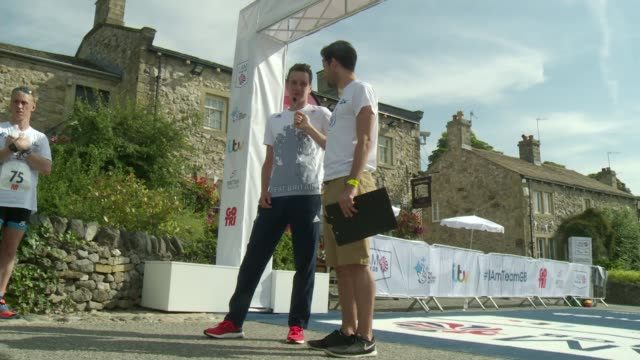 Nationwide sports day called 'I Am Team GB' held Yorkshire 'I am Team GB' sign by The Woolpack pub on Emmerdale set Alistair Brownlee speaking to...