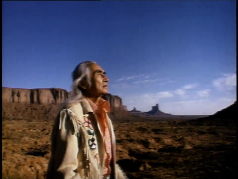 1975 ms native american speaking to heavens in desert setting - 1975 stock videos & royalty-free footage