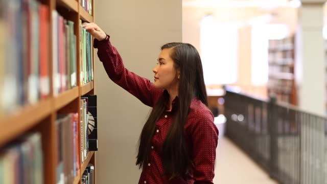 native american woman student studying in college library - indigenous north american culture stock videos and b-roll footage
