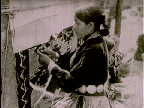 ms, b/w, native american woman weaving blanket - indigenous north american culture stock videos & royalty-free footage