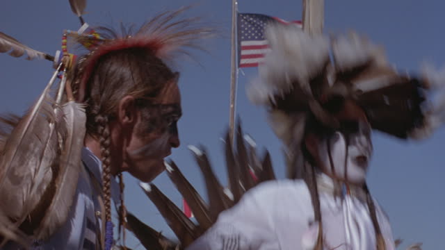 Native Americans, in elaborate costumes,  perform a traditional dance at a powwow.