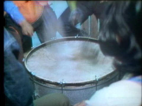 stockvideo's en b-roll-footage met native americans play instruments and chant during the occupation of wounded knee. - 1973