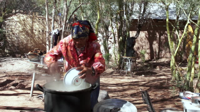 MS Native Atacama woman cooking traditional meal / Angostura, Chile