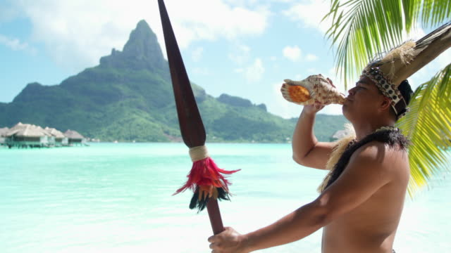 a native islander man blows a conch shell holding a ceremonial spear at a tropical island resort. - intercontinental hotels group stock videos & royalty-free footage