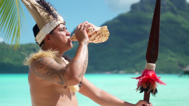 vídeos de stock, filmes e b-roll de a native islander man blows a conch shell holding a ceremonial spear at a tropical island resort. - concha parte do corpo animal