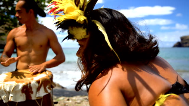 native marquesan group performing bird dance marquesas pacific - french overseas territory stock videos & royalty-free footage