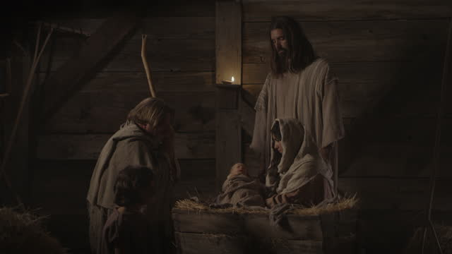 nativity scene with shepherds visiting baby jesus with mary and joseph / cedar hills, utah, united states - genderblend stock videos & royalty-free footage