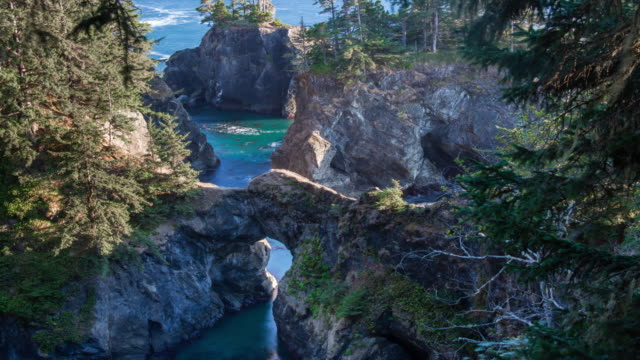 stockvideo's en b-roll-footage met natural bridges op de kust van oregon - oregon coast