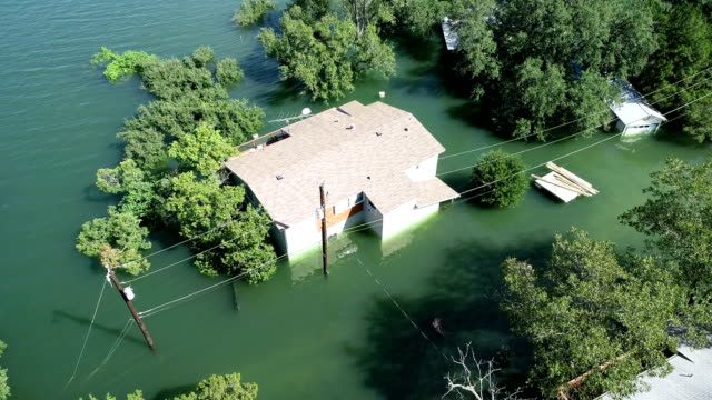 natural disaster home flooded almost under water - damaged stock videos & royalty-free footage