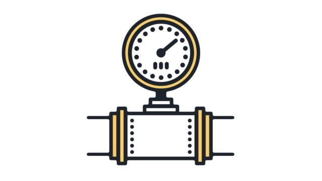 vídeos de stock e filmes b-roll de natural gas consumption flat line icon animation with alpha - tubo