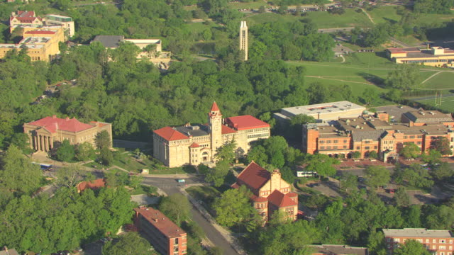 ws aerial zi natural history museum at university of kansas / lawrence, kansas, united states - kansas stock videos & royalty-free footage