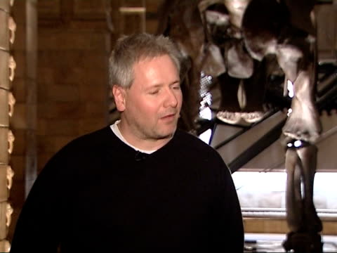 Natural History Museum fossil identified as new type of dinosaur Mike Taylor interview SOT Mike Taylor looking at large dinosaur skeleton in Natural...