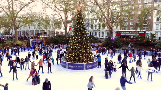 natural history museum xmas ice rink - ice skating stock videos and b-roll footage