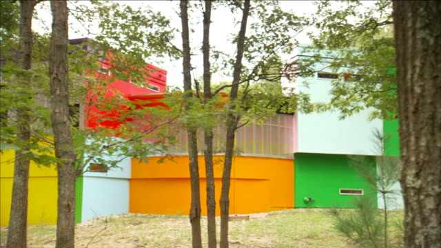 natural landscaping surrounds a colorful, contemporary house. - color block stock videos and b-roll footage
