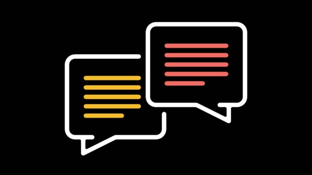 vídeos y material grabado en eventos de stock de animación del icono de línea con alfa de procesamiento del lenguaje natural - comunicación