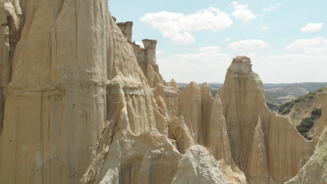 natural phenomenon fairy chimney rocks - sandstone stock videos & royalty-free footage