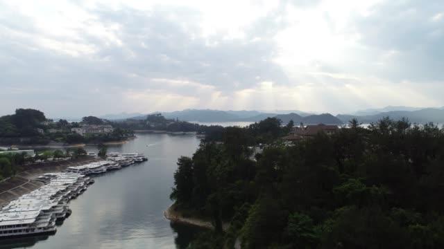 natural scenery of qiandao lake in zhejiang province,china - zhejiang province stock videos & royalty-free footage